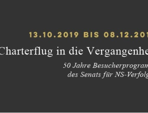 """""""Charterflug in die Vergangenheit""""   50 Jahre Besucherprogrammdes Senats für NS-Verfolgte"""